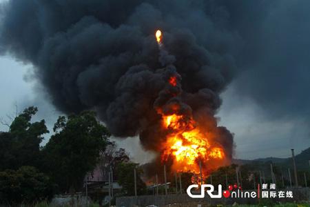 广东珠海地下油库爆炸 火光冲天形成巨大蘑菇云; 一个地下油库发生