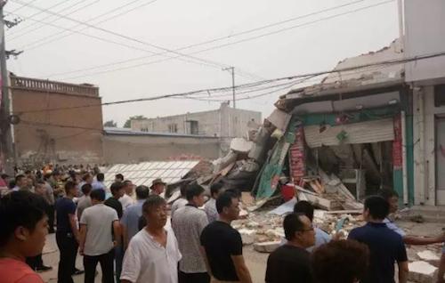 河北任县二层家电城坍塌5人被埋已致2死